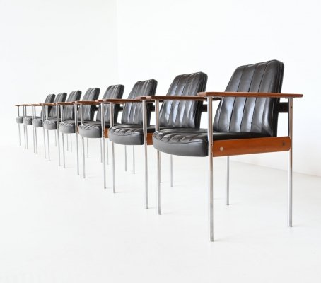 Sven Ivar Dysthe set of eight armchairs by Dokka Møbler, Norway 1960