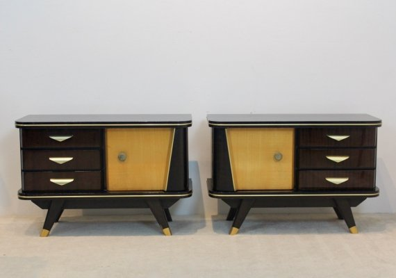 Pair of Characteristic 50s Wooden Nightstands