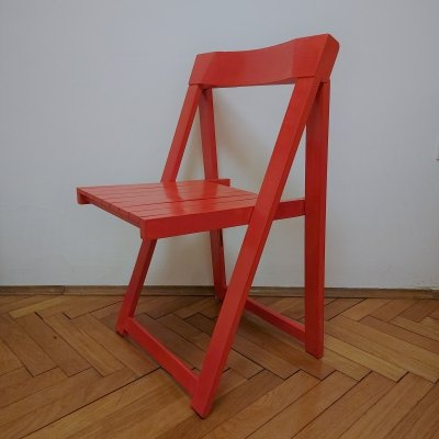 Red Foldable chair by Aldo Jacober, 1970s