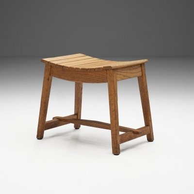 French Angular Wooden Stool, France ca 1940s