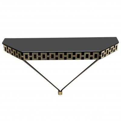 Console with black lacquered metal structure & brass decoration, 1970