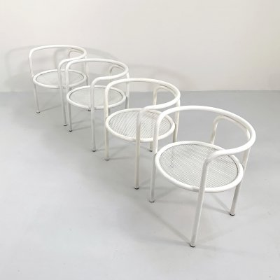 Set of 4 White Locus Solus Chairs by Gae Aulenti for Poltronova, 1960s