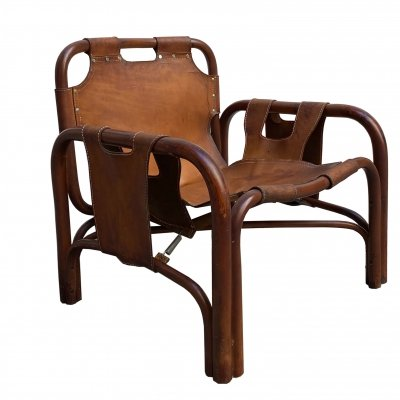 Bamboo And Cognac-colored Leather armchair, 1960s