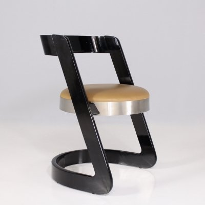 Wood, leather & aluminium cantilever chair by Willy Rizzo for Mario Sabot, 1960's