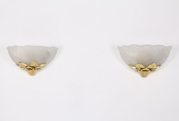 Pair of glass & gilded bronze 'lotus' wall lamps by Lucien Gau, 1970's