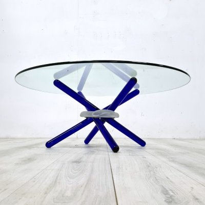 Coffee table with Murano glass base by Maurice Barilone for Reflex Italy