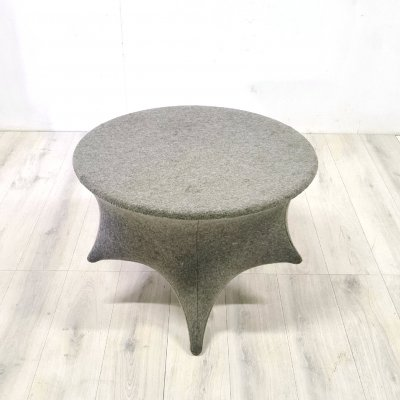 Odd shaped felt covered coffee table, 1970s