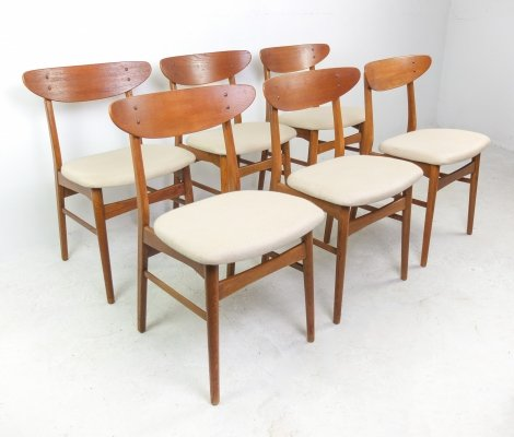 Danish set of 6 Mid-Century Teak Dining Chairs by Farstrup Møbler, 1960s