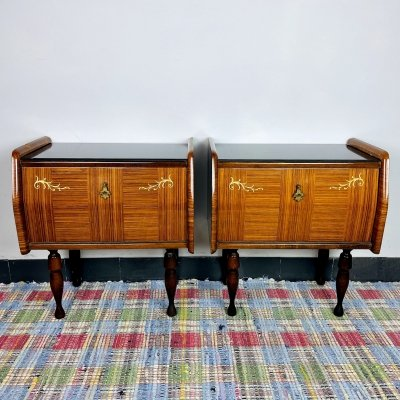 Mid-century polished bedside tables, Italy 1970's