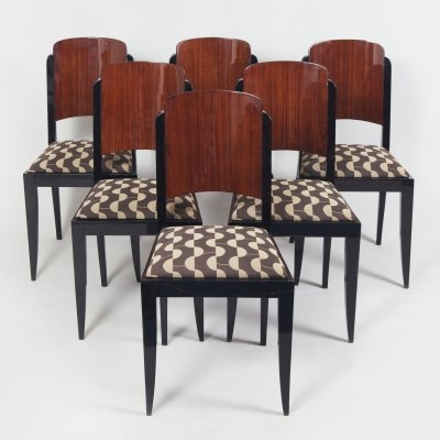 6 dining chairs by French architect Jules Leleu, 1920s