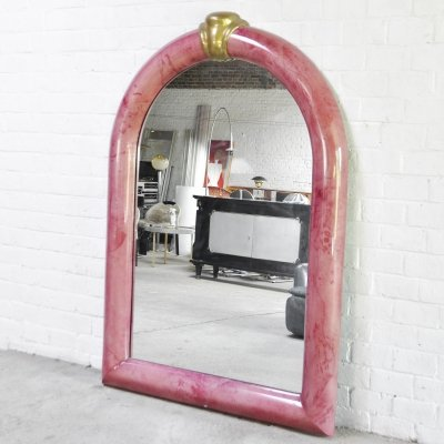 Pink Lacquered Goat Skin Mirror by Karl Springer, 1970's