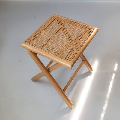 Wooden Folding Chair with Rattan Seat, 1980s