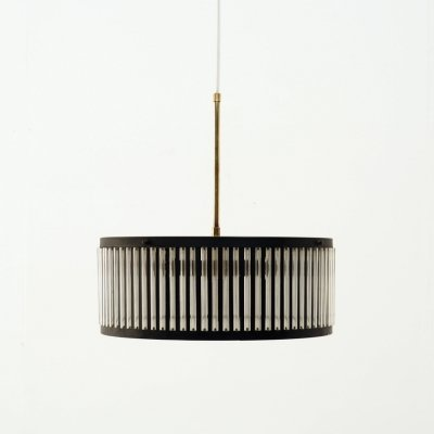 Black pendant in metal with copper details, 1960s
