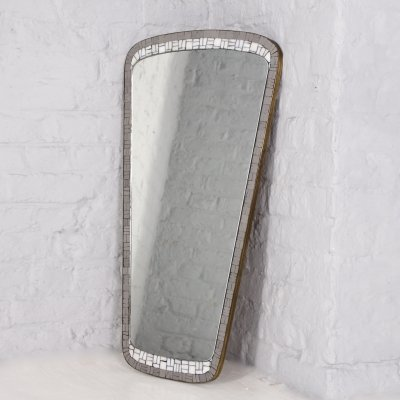 Free form mosaic & brushed brass mirror by Berthold Müller Oerlinghausen, 1960's