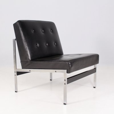 Minimalist leather low chair by Kho Liang Ie for Artifort, 1960's