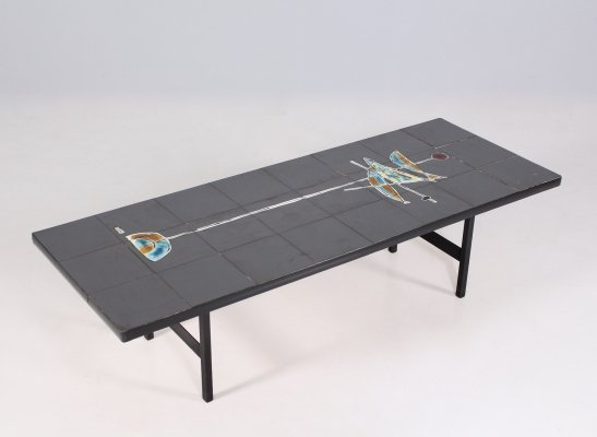 Modernist glazed ceramic & lacquered steel coffee table, 1960's