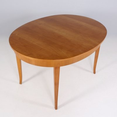 Maple wood table with 2 retractable extensions, 1950's