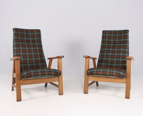Pair of solid oak & fabrics lounge chairs, 1950's