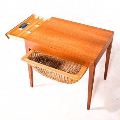 Mid Century Teak Sewing Table by Severin Hansen for Haslev