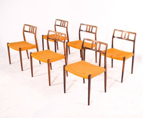 Mid-Century Danish Rosewood set of Six Niels Otto Moller Dining Chairs