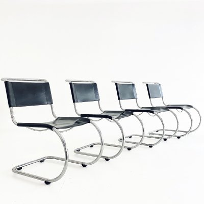 Set of 4 S533 L lounge chairs by Ludwig Mies van der Rohe for Thonet, 1990s