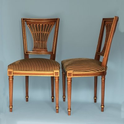 Set of 2 Beech Wood Gilded Chairs, 1950