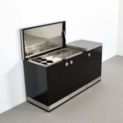 Stunning Willy Rizzo Bar / Sideboard in Black & Stainless Steel, Italy 1969