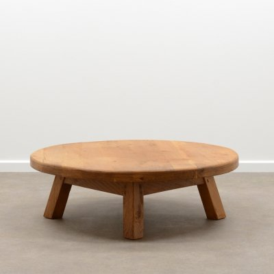 French oak brutalist coffee table, 1970s