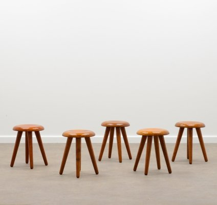 Solid oak French 'milking' stool, 1970s