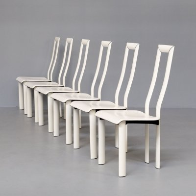 Set of 6 Antonello Mosca 'Royal' white leather high back chairs for Ycami, 1980s