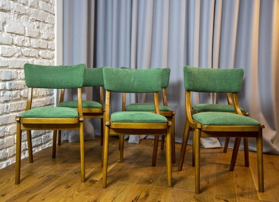 Set of 6 MCM forest colored dining chairs, 1970s
