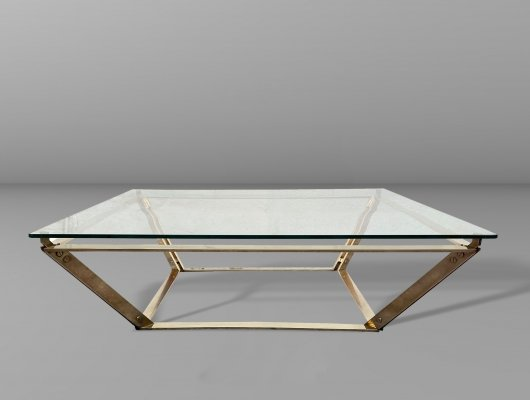 Brass & glass coffee table by P. Masson, 1970