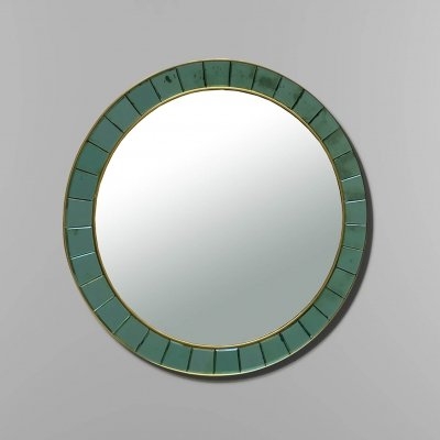 Cristal Art mirror mod. 2679 with frame made of ground & mirrored green