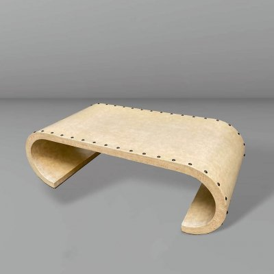 Goatskin parchment covered coffee table, 1970s