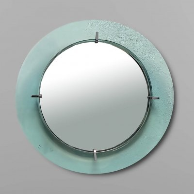Round wall mirror by Cristal Art, Italy 1970s