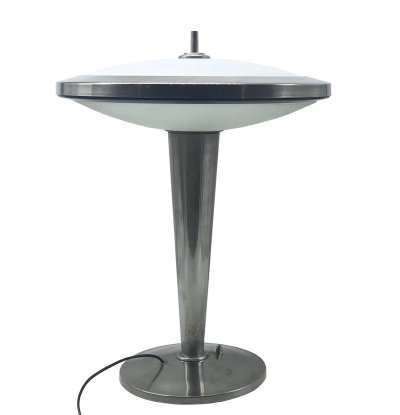 Fontana Arte Table lamp with nickel-plated brass structure & glass diffuser, 1970