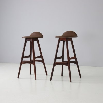 Pair of rosewood & leather bar stools by Erik Buch for O. D. Møbler, 1960s