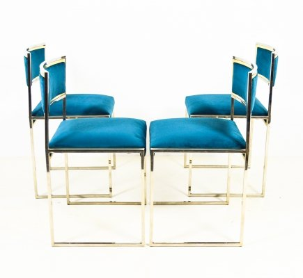 Set of 4 Willy Rizzo dining chairs, 1970s