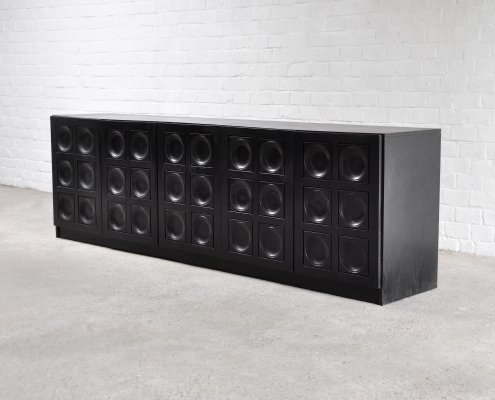 Brutalist Graphic Sideboard In Black Stained Oak, Belgium 1970's