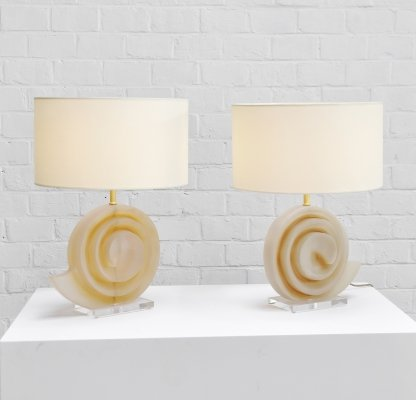 Pair of Resin Snail Shell Lamps, France 1970's