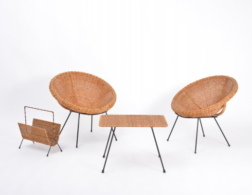 Set of Italian midcentury Rattan bowl chairs with side table & magazine rack