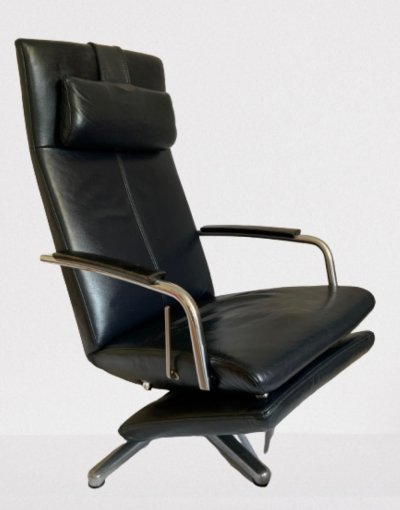 Dark blue leather lounge chair with footrest, 70s