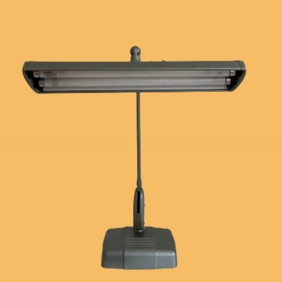 Industrial grey desk lamp Dazor with two fluorescent tubes