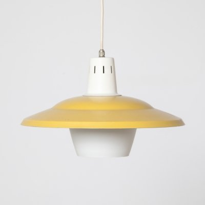 Yellow & White Hanging Light by Anvia, 1950s