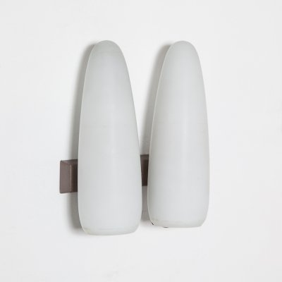 Philips wall lamp with White opal frosted glass Cones, 1950s