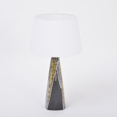 Tall Black Danish Midcentury Ceramic Table Lamp by Svend Aage Jensen for Søholm