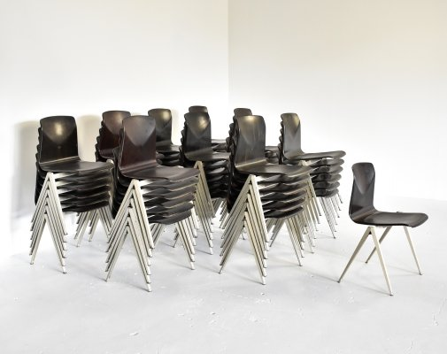 Set of 55 industrial stacking chairs by Galvanitas, 1970s