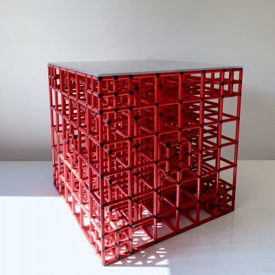 Object / coffee table constructed of three dimensional squares