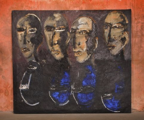 XL Vintage Oil Painting With Blue Pigment Made by Miriam Lampe, 1985