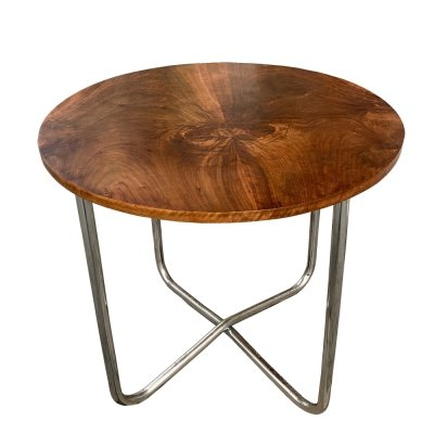 Round chrome Bauhaus Type 1037 table with walnut top by Vichr a Spol, 1930s